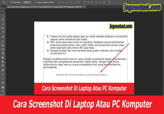 Cara Mudah Screenshot Laptop Atau PC Komputer SS Langsung Dapat Untuk Share File Gambar Hasil Gambar - Solusi Cepat Mengatasi JAGO SOLUSI.
